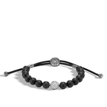 Chain Pull Through Bead Bracelet, Silver, Gemstone, Diamonds