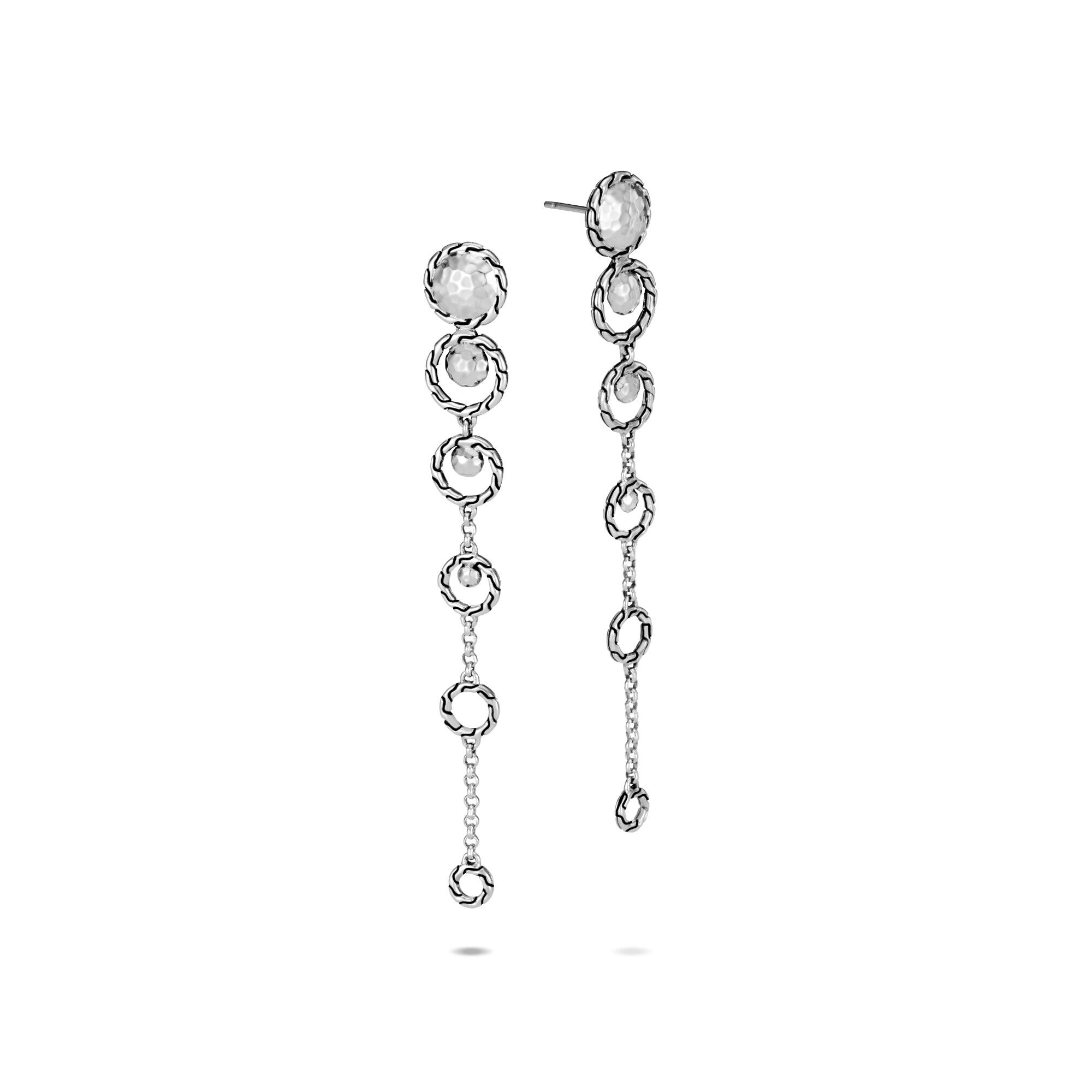 Dot Drop Earring in Hammered Silver, , large