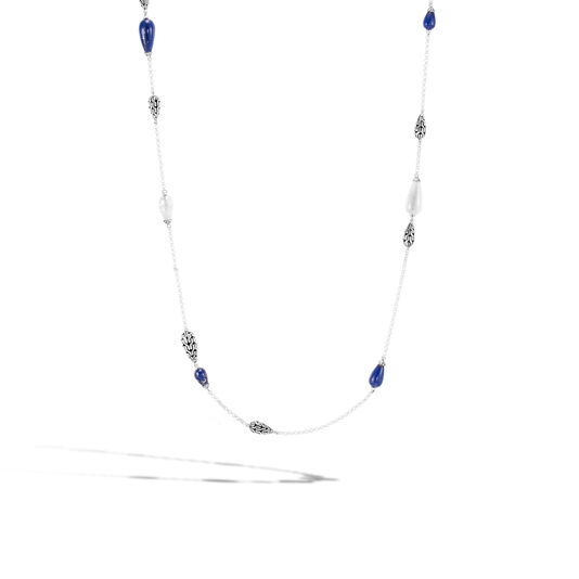 Classic Chain Station Necklace in Silver with Gemstone , Lapis Lazuli, large