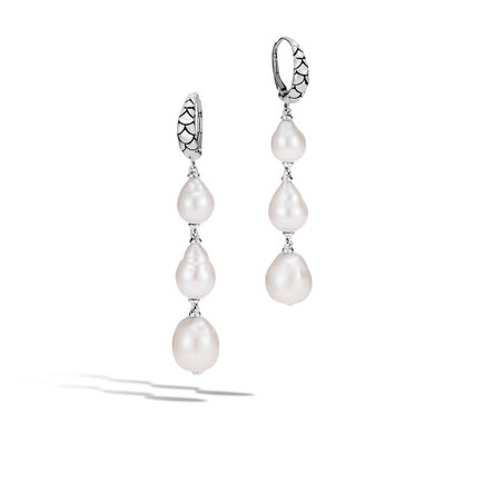 Legends Naga Drop Earring in Silver with 8-11MM Pearl