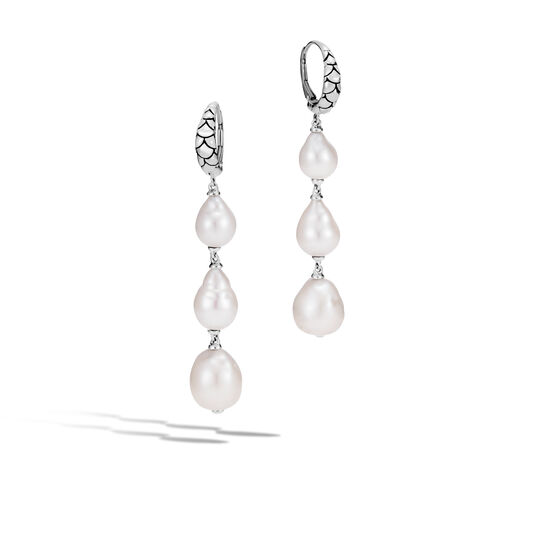 Legends Naga Drop Earring in Silver with 8-11MM Pearl, White Fresh Water Pearl, large