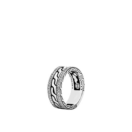 Classic Chain 9MM Band Ring in Silver with Gem Diamonds