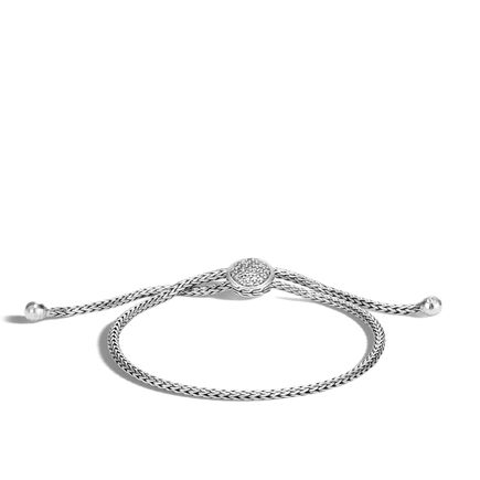 Classic Chain Pull Through Bracelet in Silver with Diamonds