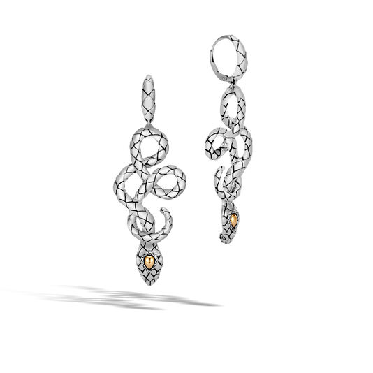 Legends Cobra Drop Earring in Silver and 18K Gold, , large