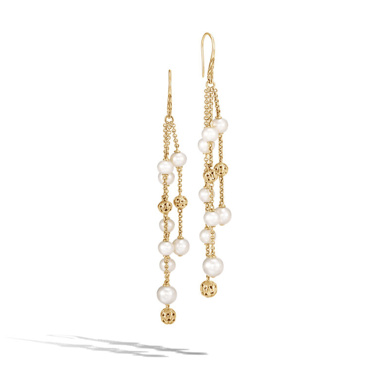 Classic Chain Chandelier Earring in 18K Gold with Pearl, White Fresh Water Pearl, large