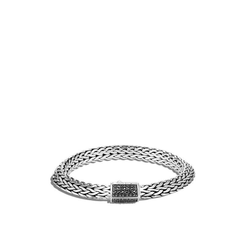 Tiga Classic Chain 8MM Bracelet in Silver, Treated Black Sapphire, large