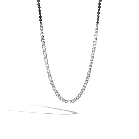 Classic Chain Link Necklace in Silver with 6MM Gemstone, Black Onyx, large