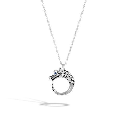 Legends Naga Pendant Necklace, Brushed Silver with Gemstone, Black Spinel, large
