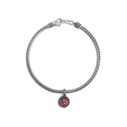 Classic Chain Round Charm Bracelet in Silver with Gemstone