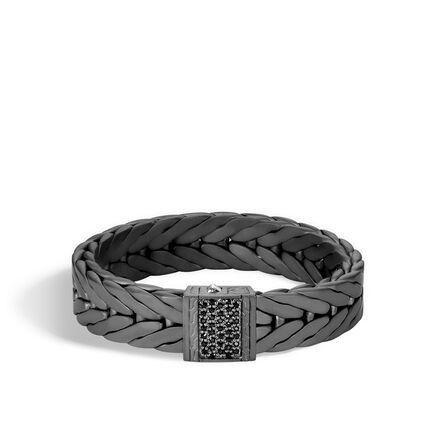 Modern Chain 16mm Bracelet In Blacked Silver With Gemstone