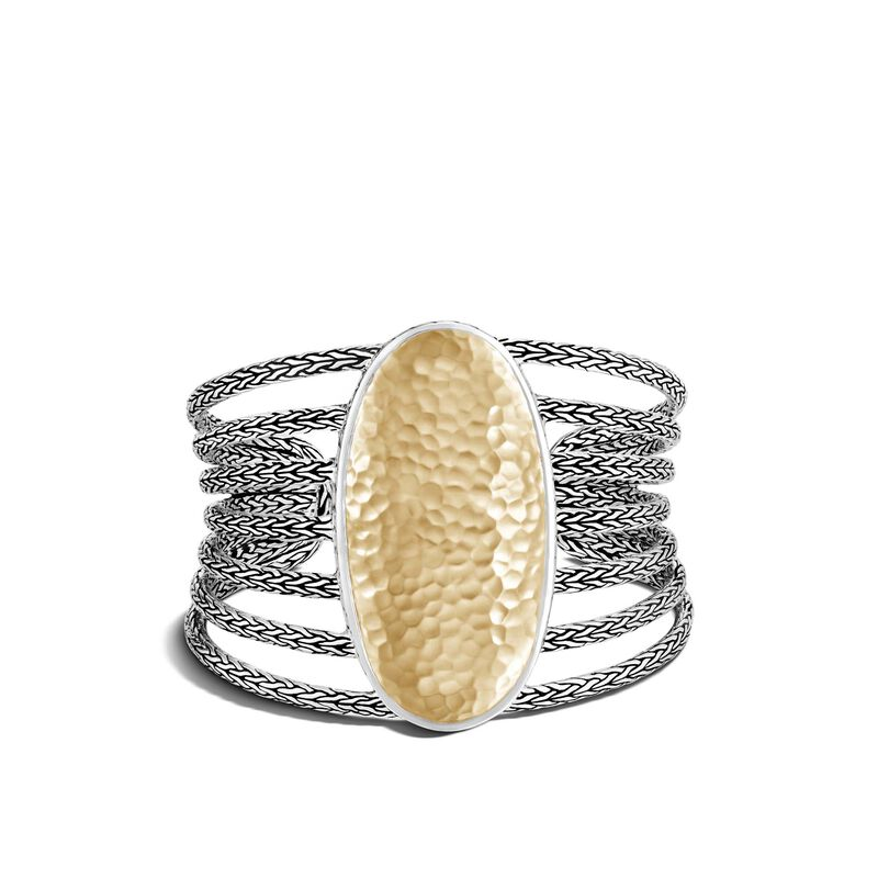 Classic Chain 50.5MM Cuff in Silver and Hammered 18K Gold, , large
