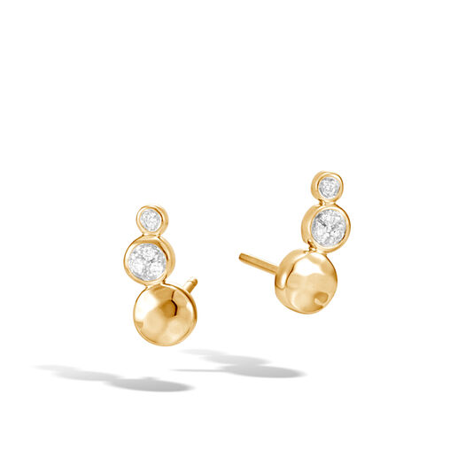 Dot Stud Earring in Hammered 18K Gold with Diamonds, White Diamond, large