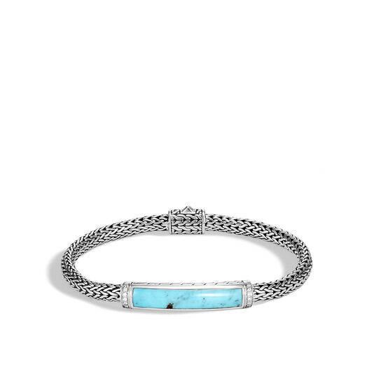 Classic Chain Station Bracelet in Silver with Gemstone and Dia, Turquoise, large