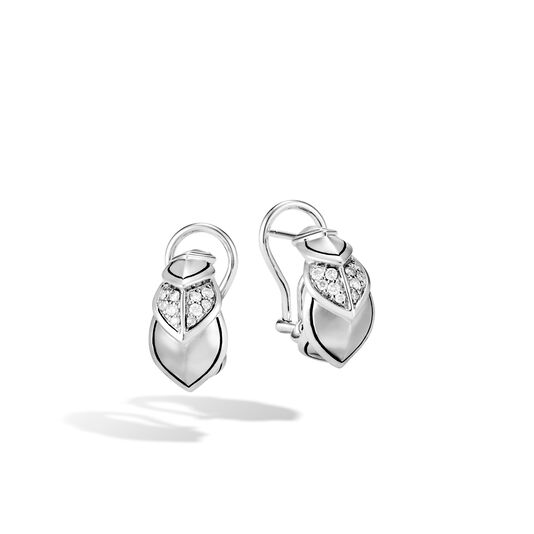 Legends Naga Buddha Belly Earring in Silver with Diamonds, White Diamond, large