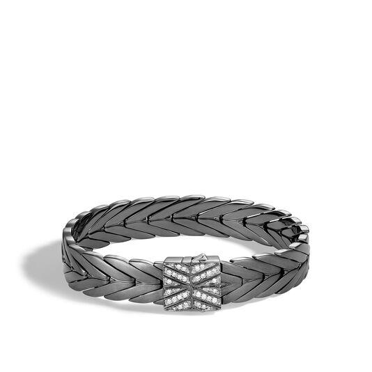 Modern Chain 11MM Bracelet in Blackened Silver with Diamonds, White Diamond, large