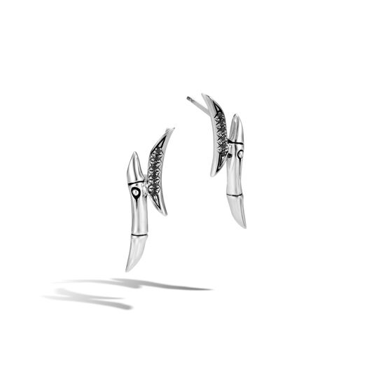 Bamboo Stud Earring in Silver with Gemstone, Black Spinel, large