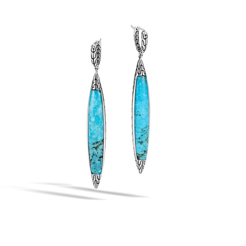 Classic Chain Spear Earring in Silver with Gemstone