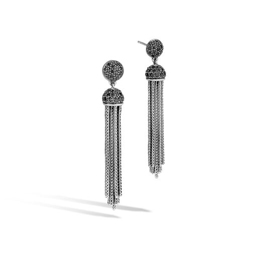 Classic Chain Tassel Earring in Silver with Gemstone, Black Spinel, large