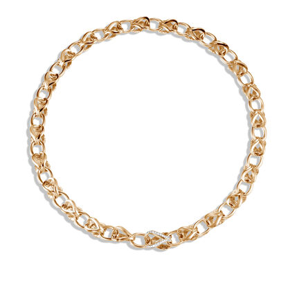 Asli Classic Chain Link 10MM Necklace, 18K Gold, Diamonds