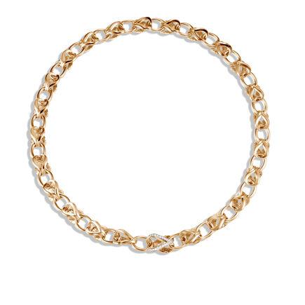 Asli Classic Chain Link 10MM Necklace, 18K Gold, Diamonds