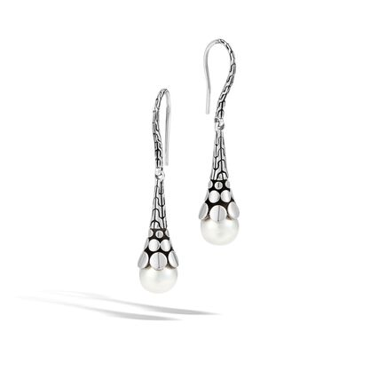 Dot Drop Earring in Silver with 8MM Pearl