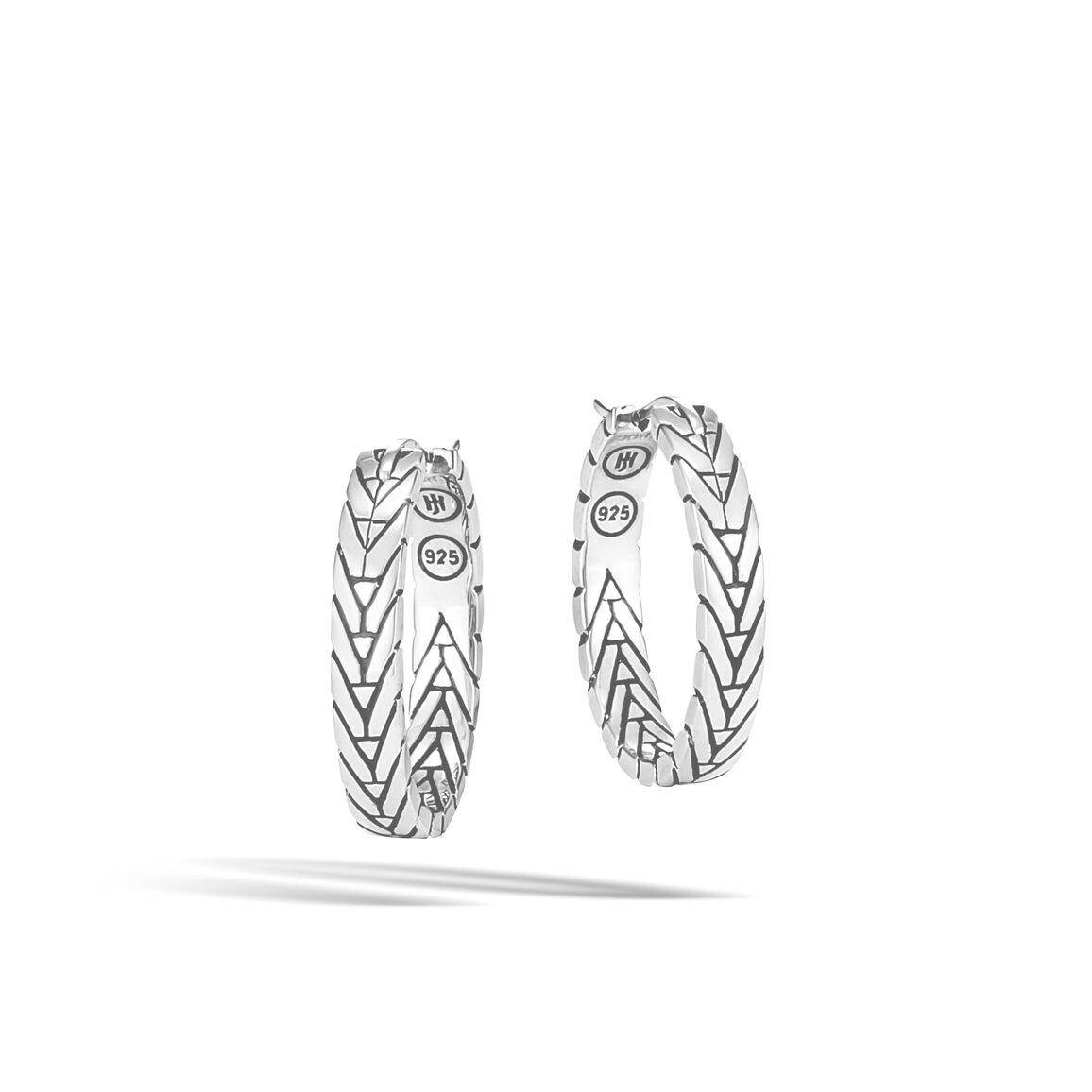 Modern Chain Small Hoop Earring in Silver