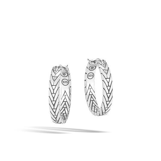 Modern Chain Small Hoop Earring in Silver, , large