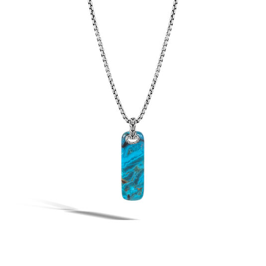 Classic Chain Pendant Necklace in Silver with Gemstone, Chrysocolla, large