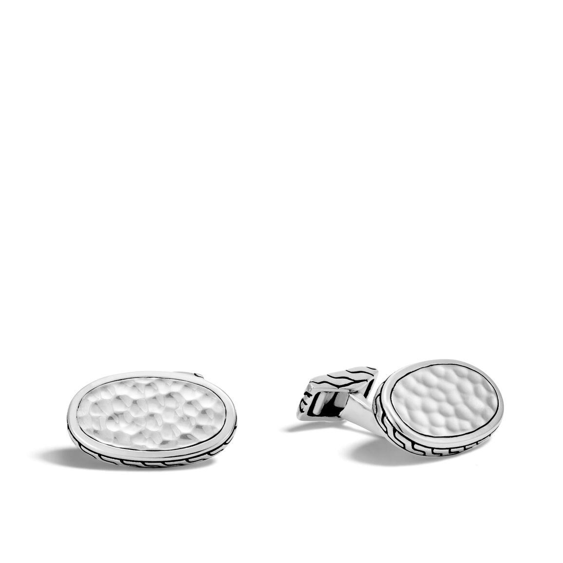 Classic Chain Cufflinks in Hammered Silver