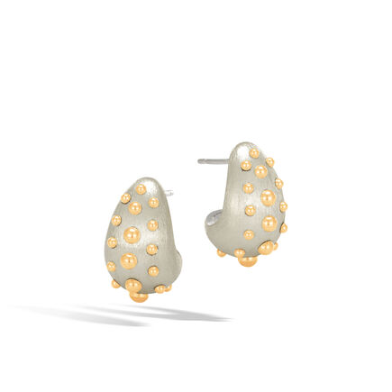 Dot Buddha Belly Earring in Brushed Silver and 18K Gold