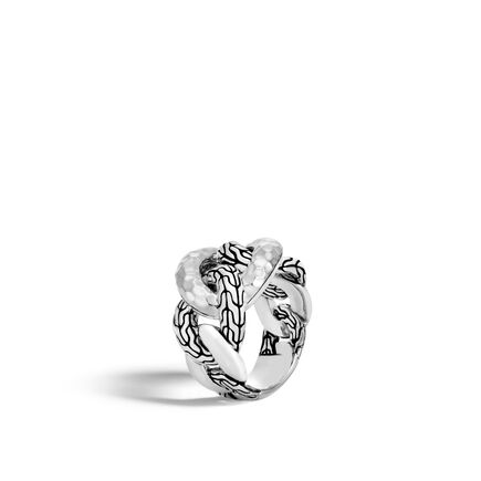 Classic Chain 15.5MM Band Ring in Hammered Silver