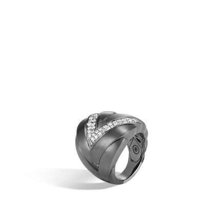 Modern Chain 24MM Ring in Blackened Silver, Diamonds
