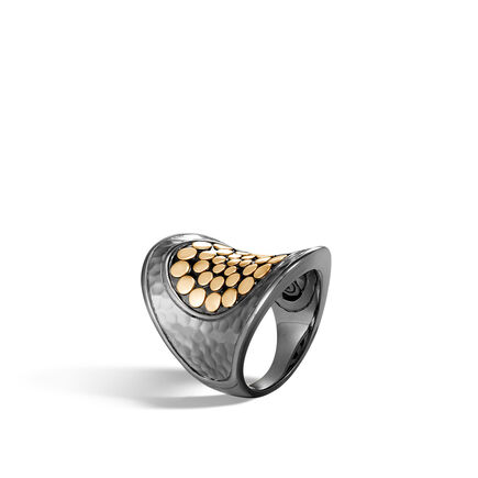 Dot Saddle Ring in Blackened Hammered Silver and 18K Gold