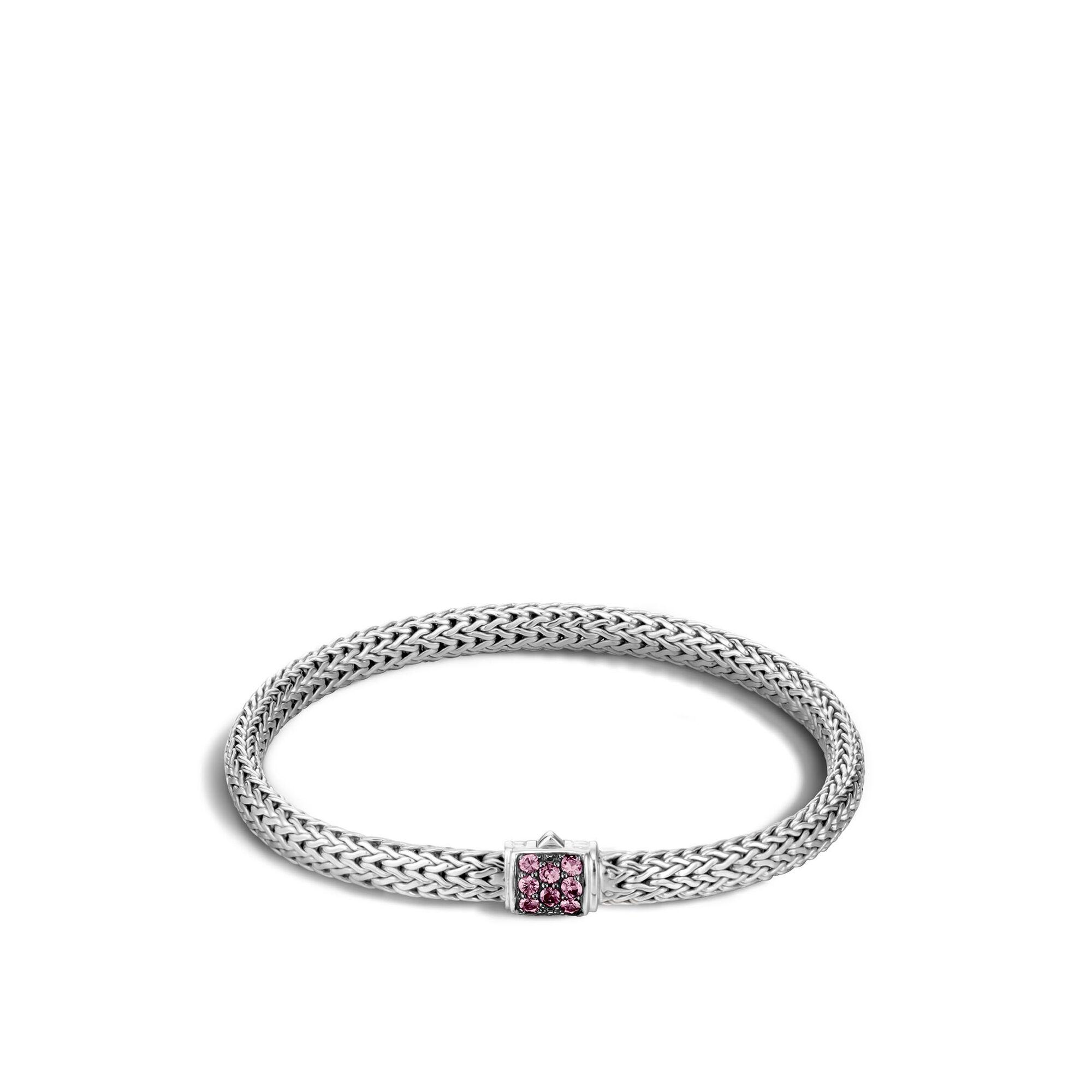 Classic Chain Pavé Icon Bracelet, Pink Spinel, large