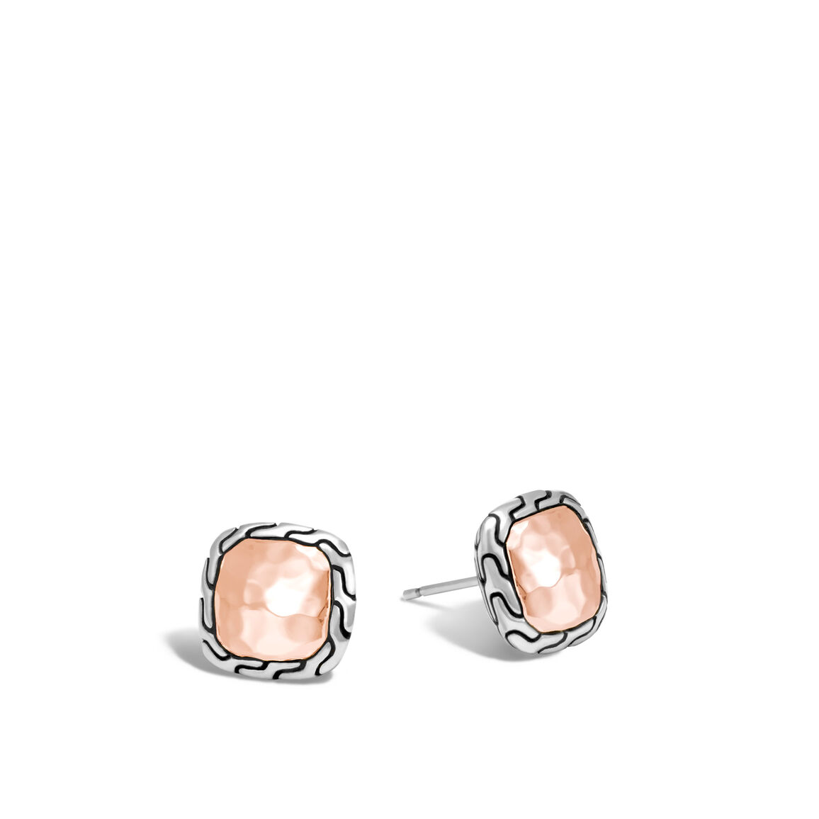 Classic Chain Stud Earring, Silver, Hammered 18K Rose Gold
