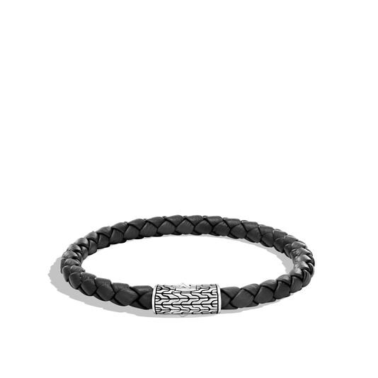 Classic Chain 5.5MM Station Bracelet in Silver and Leather, , large