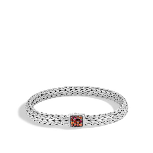 Classic Chain 7.5MM Bracelet in Silver with Gemstone, Garnet, large
