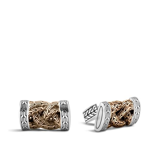 Braided Chain Cufflinks in Silver and Blackened Bronze, , large