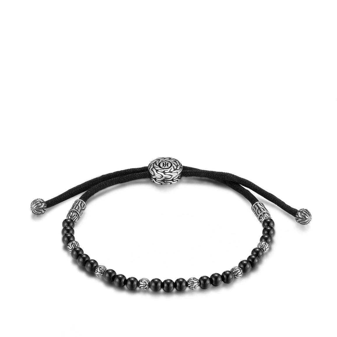 Men's Classic Chain Pull Through Bead Bracelet in Silver