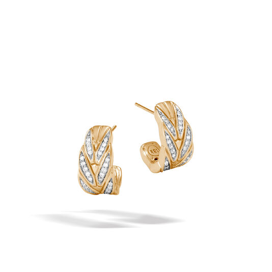 Modern Chain Small J Hoop Earring in 18K Gold with Diamonds, White Diamond, large