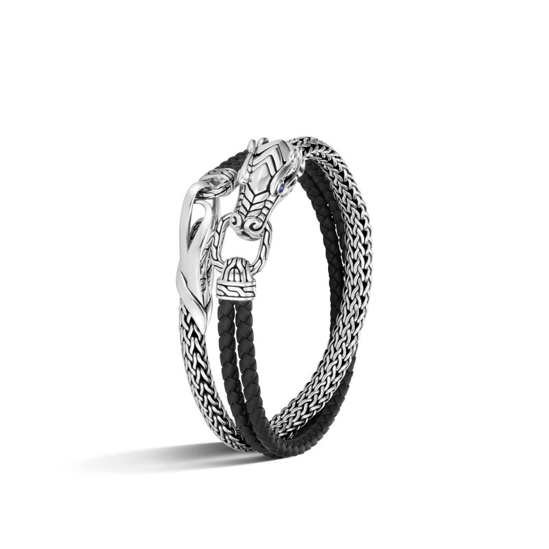 Legends Naga Double Wrap Bracelet in Silver with Leather, , large