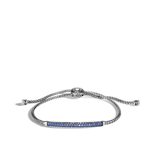 Classic Chain Station Pull Through Bracelet , Silver, Gemstone, Blue Sapphire, large