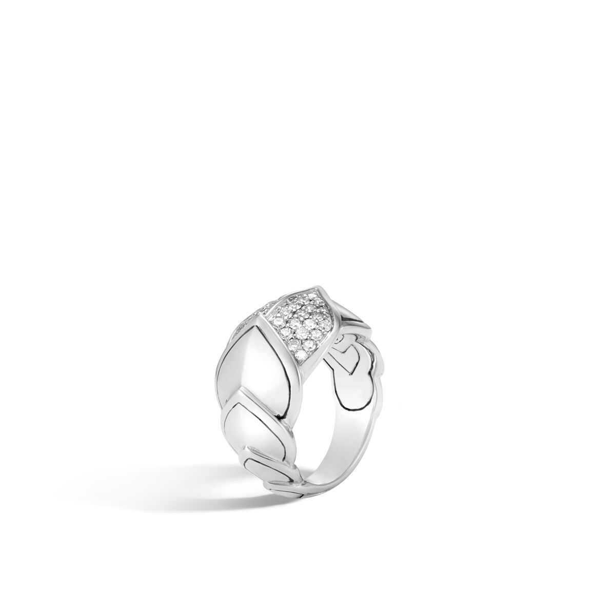 Legends Naga 15MM Ring in Silver with Diamonds