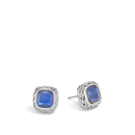 Classic Chain Magic Cut Stud Earring in Silver, 8MM Gemstone, Blue Labradorite, large