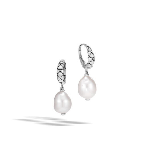 Legends Naga Drop Earring in Silver with 10MM Pearl, White Fresh Water Pearl, large