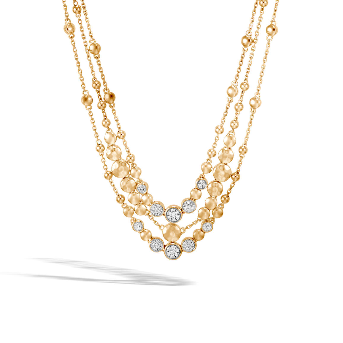 Dot Multi Row Necklace in Hammered 18K Gold with Diamonds
