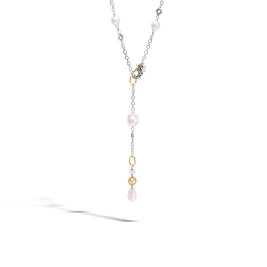 Legends Naga Station Necklace, Silver, 18K Gold, Pearl,Gems, White Fresh Water Pearl, large