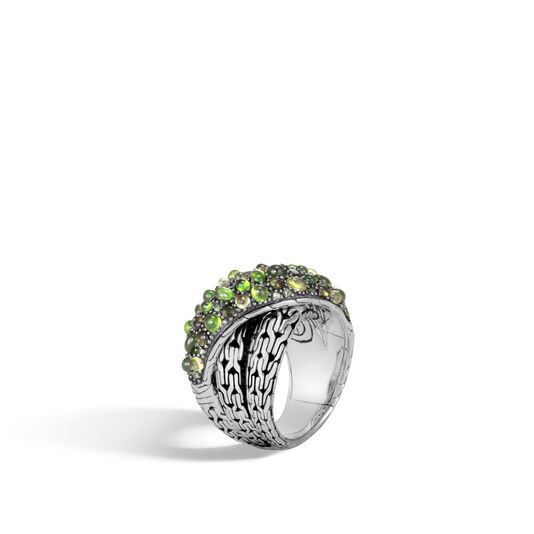 Classic Chain Overlap Ring in Silver with Gemstone, Green Tourmaline, large