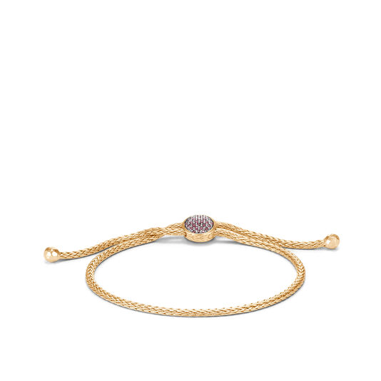 Classic Chain Pull Through Bracelet in 18K Gold with Gemstone, African Ruby, large