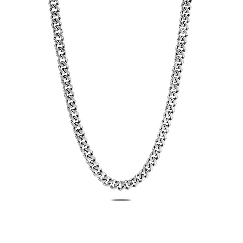 Classic Chain 7MM Curb Link Necklace in Silver, , large